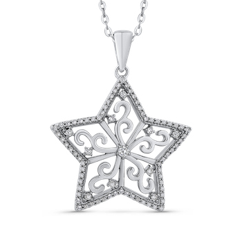 1/2 Ct Diamond Star pendant with Chain