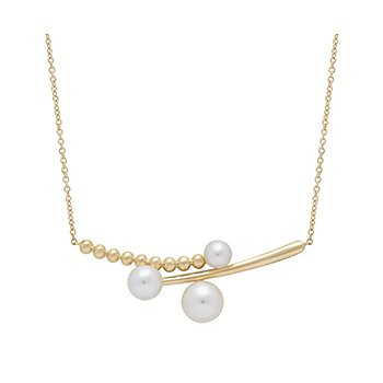 "Honora 14KY Triple  4.5-7mm  White Round Freshwater Cultured Pearl  18"" Necklace"