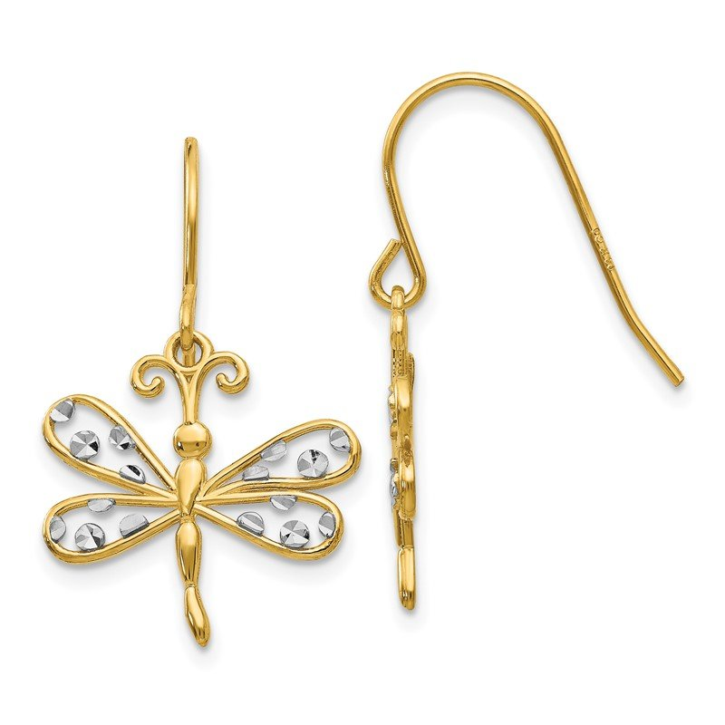 Quality Gold 14k & Rhodium Diamond-cut Dragonfly Shepherd Hook Earrings