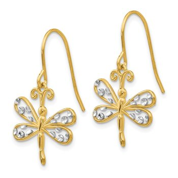 14k & Rhodium Diamond-cut Dragonfly Shepherd Hook Earrings