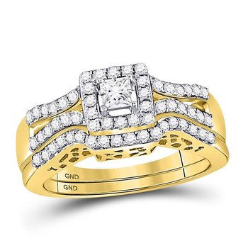 14kt Yellow Gold Womens Princess Diamond Split-shank Bridal Wedding Engagement Ring Band Set 5/8 Cttw