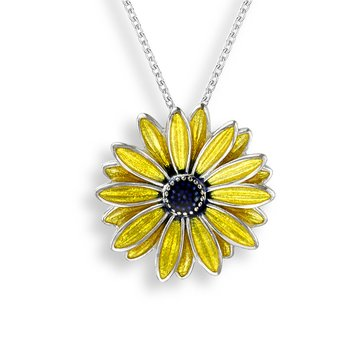 Yellow African Daisy Necklace.Sterling Silver