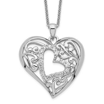 Sterling Silver CZ Forever In My Heart 18in Necklace