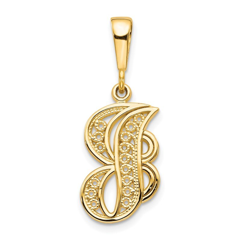 Quality Gold 14KY Polished Script Filigree Letter J Initial Pendant