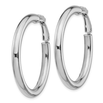 14k White Gold 4x30mm Polished Round Omega Back Hoop Earrings