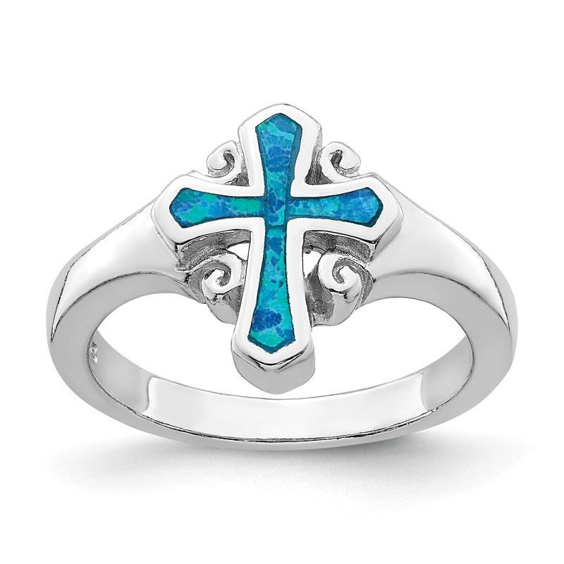Quality Gold Sterling Silver Rhodium-plated Blue Inlay Created Opal Cross Ring