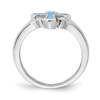 Sterling Silver Rhodium-plated Blue Inlay Created Opal Cross Ring