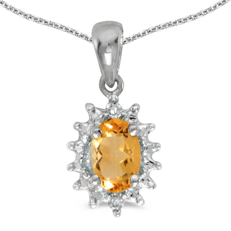 10k White Gold Oval Citrine And Diamond Pendant