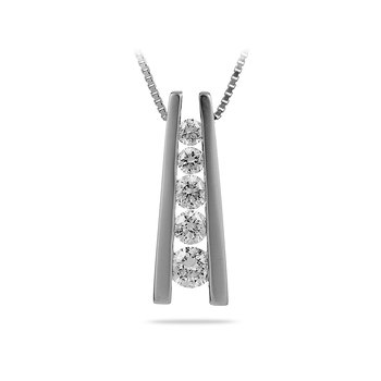 14K WG Diamond Journey Pendant