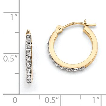 14k Diamond Fascination Small Hinged Leverback Hoop Earrings