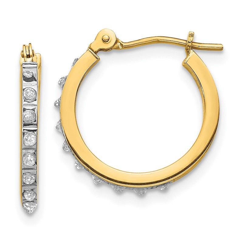 Quality Gold 14k Diamond Fascination Small Hinged Leverback Hoop Earrings
