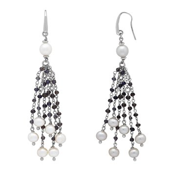 Honora Sterling Silver 6-8mm White Ring Freshwater Cultured Pearl Faceted Iolite Tassle Earrings