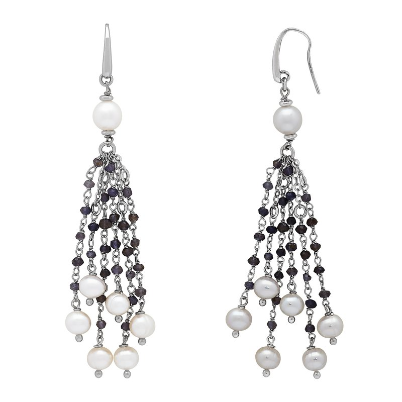 Honora Honora Sterling Silver 6-8mm White Ring Freshwater Cultured Pearl Faceted Iolite Tassle Earrings