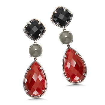 Sterling Silver Black Spinel, Grey Moonstone and Ruby Corundum Drop Earrings