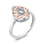 Essentials 10K White & Rose Gold .05 Ct Diamond Fashion Ring