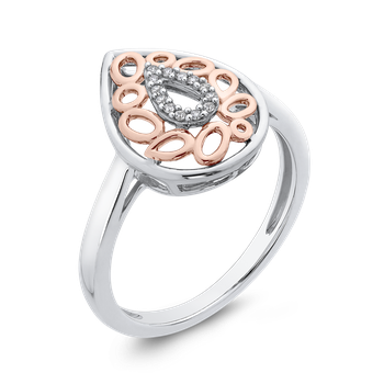10K White & Rose Gold .05 Ct Diamond Fashion Ring
