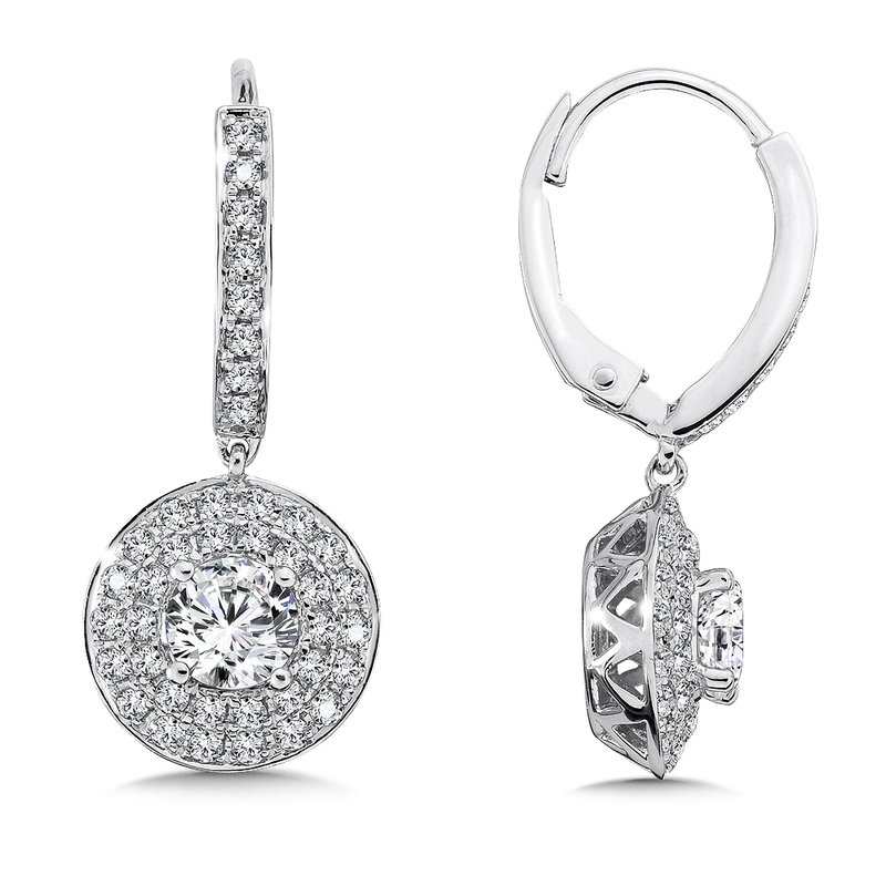 Caro74 Diamond Drop Earrings with Double Round Halo in 14K White Gold with Platinum Post (1ct. tw.)