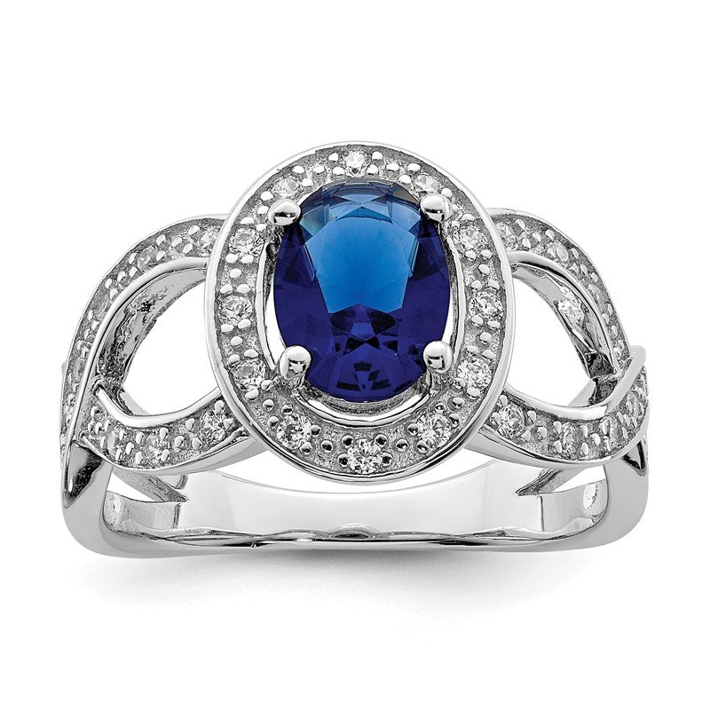 Quality Gold Sterling Silver Dark Blue Glass & CZ Ring