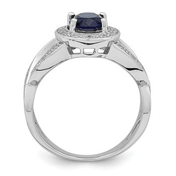 Sterling Silver Dark Blue Glass & CZ Ring
