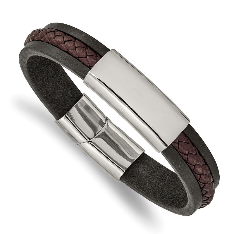 Chisel Stainless Steel Polished Black & Brown Braided Leather 8.25in ID Bracelet