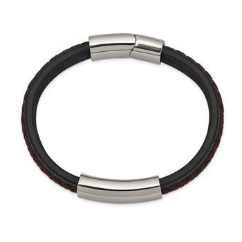 Stainless Steel Polished Black & Brown Braided Leather 8.25in ID Bracelet