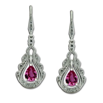 Vintage Inspired Pink Sapphire & Diamond Dangles