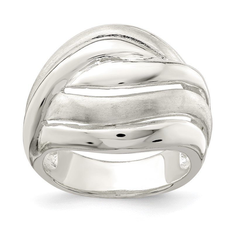 Quality Gold Sterling Silver Polished Wavy Lines Ring