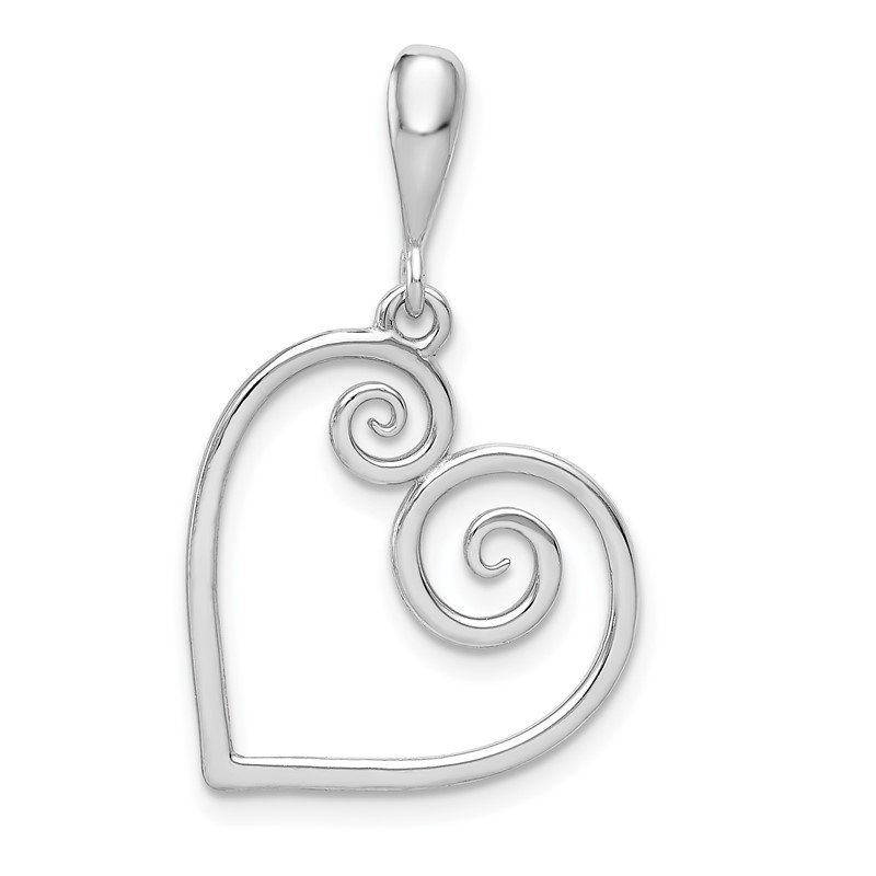Quality Gold 14K White Gold Heart Pendant