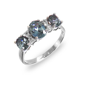 14K WG Diamond & Alexendrite Ring