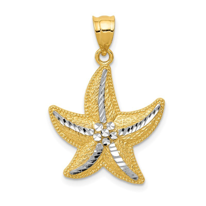Quality Gold 14K and Rhodium Diamond-cut Starfish Pendant