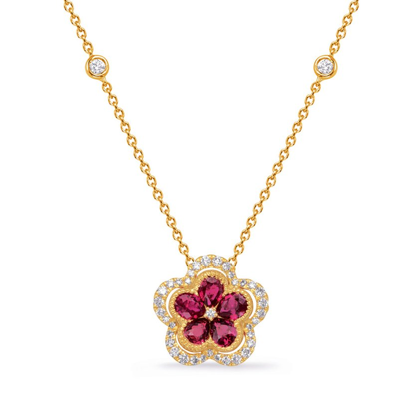S. Kashi  & Sons Yellow Gold Diamond & Ruby Necklace