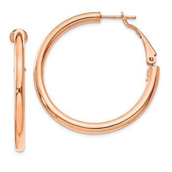14k Rose Gold 3x30mm Polished Round Omega Back Hoop Earrings