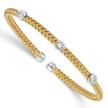 Leslie's Sterling Silver Yellow Rhodium CZ Woven Flexible Cuff