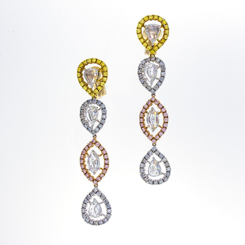 William Levine FANCY COLOR & ROSECUT DROP EARRINGS