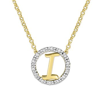 "Gold and Diamond Mini Halo ""I"" Initial Necklace"
