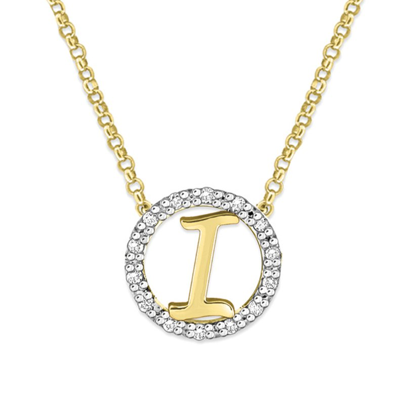 "MAZZARESE Fashion Gold and Diamond Mini Halo ""I"" Initial Necklace"