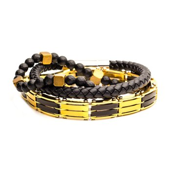 Gold Plated, Black Leather And Bead Stackable Bracelets