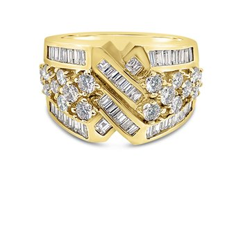 18K Yellow Gold Baguette Diamond Geometric Retro Fashion Band