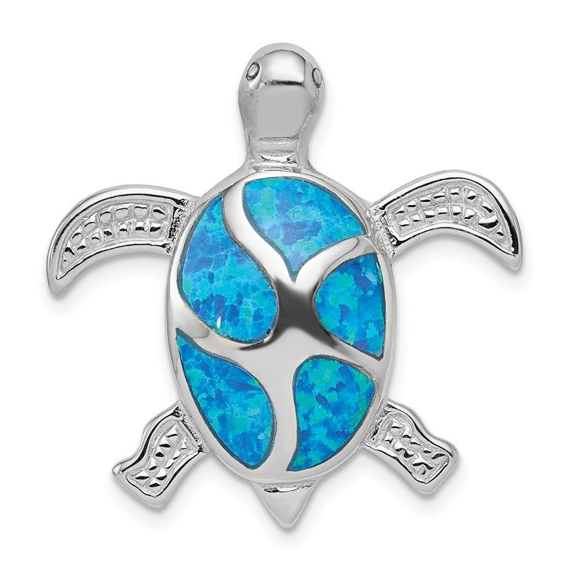 JC Sipe Essentials Sterling Silver Blue Inlay Created Opal Turtle Pendant