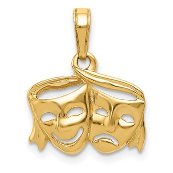 14k Polished Open-Backed Comedy/Tragedy Pendant