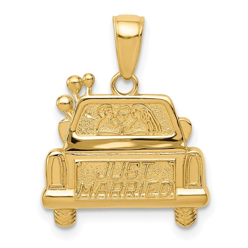 Quality Gold 14K Polished and Textured Just Married Pendant