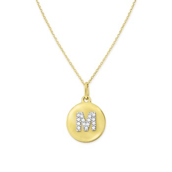 Diamond Uppercase Mini Disc Initial M Necklace