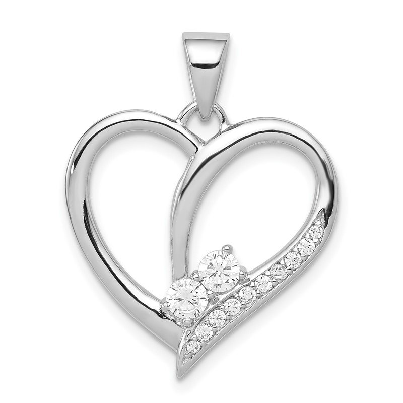 Quality Gold Sterling Silver Rhodium-plated CZ Heart Pendant