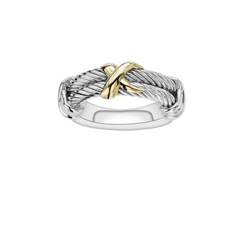 Silver & 18K Italian Cable Ring