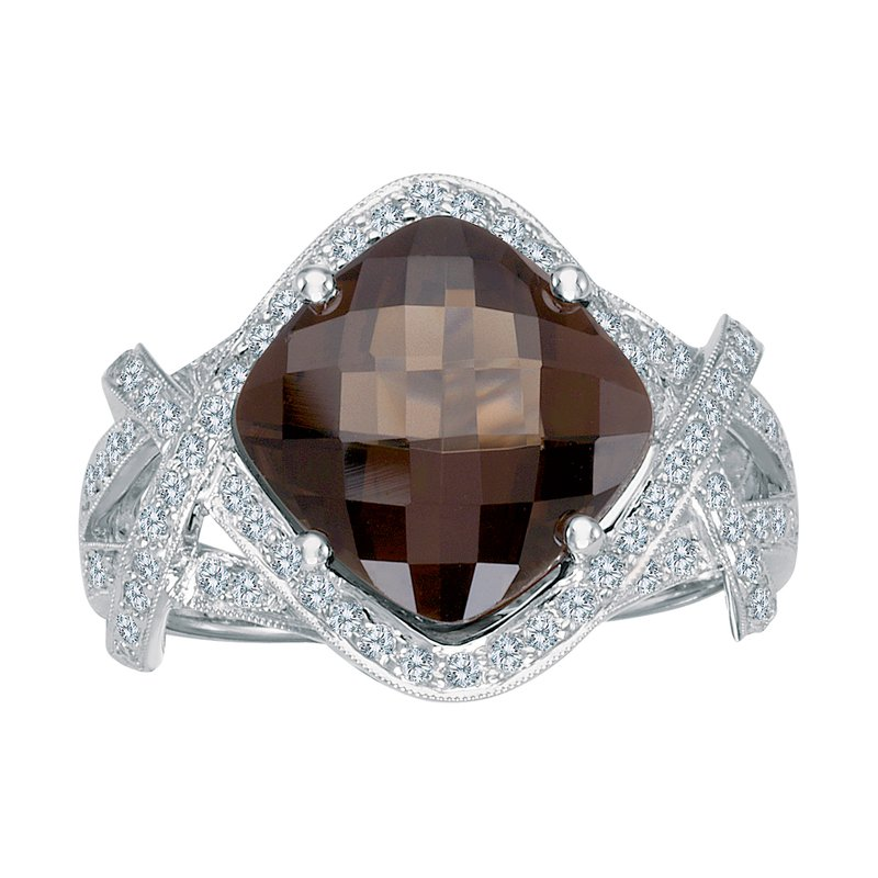 Color Merchants 14k White Gold Smokey Topaz And Diamond Ring