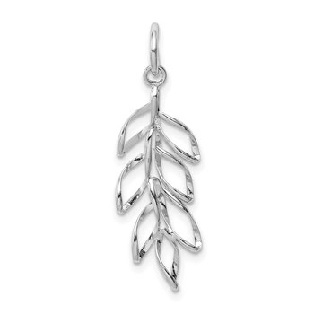 Sterling Silver Rhodium-plated Leaves Pendant