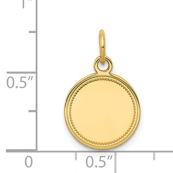 14k Plain .011 Gauge Engravable Round Disc Charm