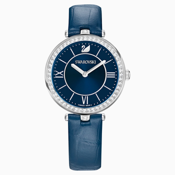 Aila Dressy Lady Watch, Leather strap, Blue, Stainless steel