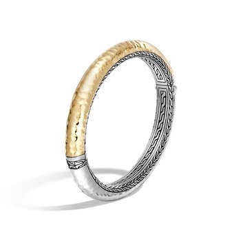 Chain 8.5MM Hinged Bangle, Silver, Hammered 18K Gold