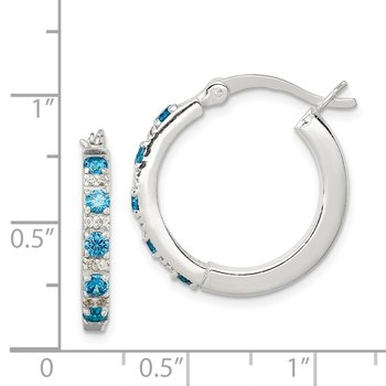 Sterling Silver Polished Blue and White CZ Hinged Hoop Earrings